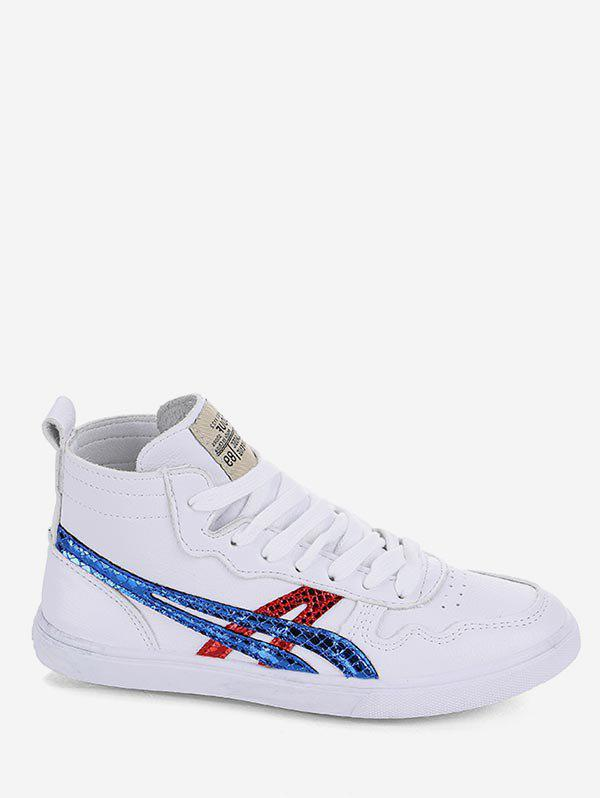 Cheap Applique Lace Up Mid Top Sneakers