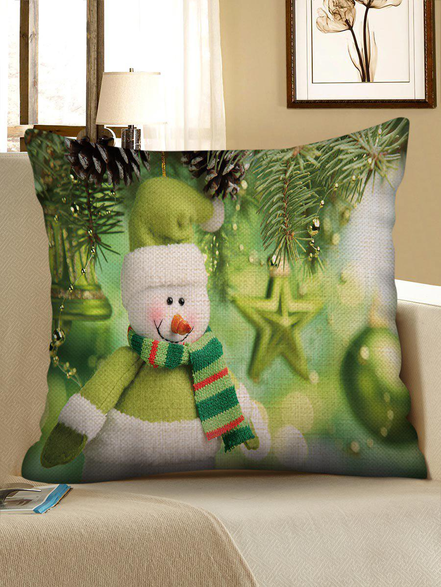 Trendy Christmas Snowman Pattern Decorative Sofa Linen Pillowcase