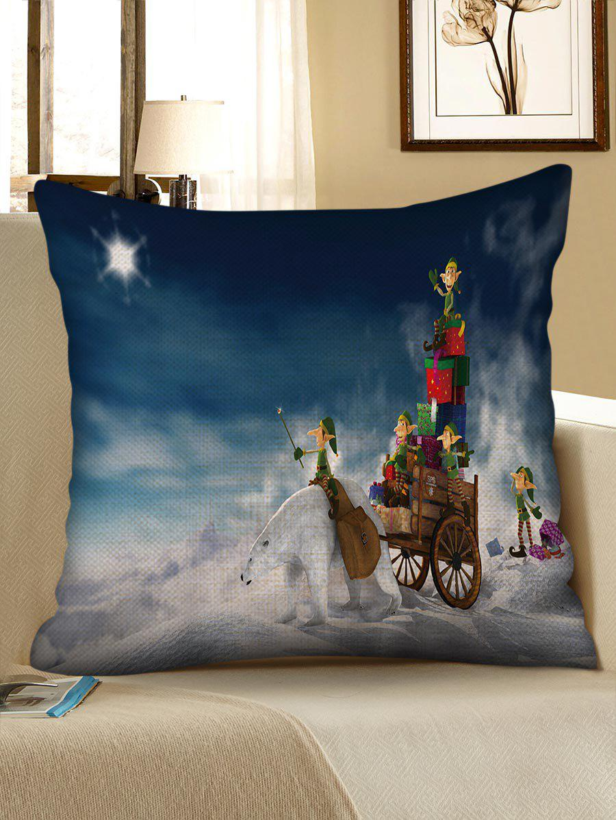 Latest Christmas Bear Gifts Pattern Decorative Sofa Linen Pillowcase