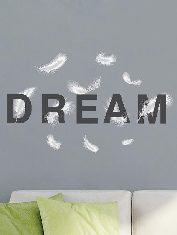 Hot DREAM Feathers Print Removable Wall Art Stickers