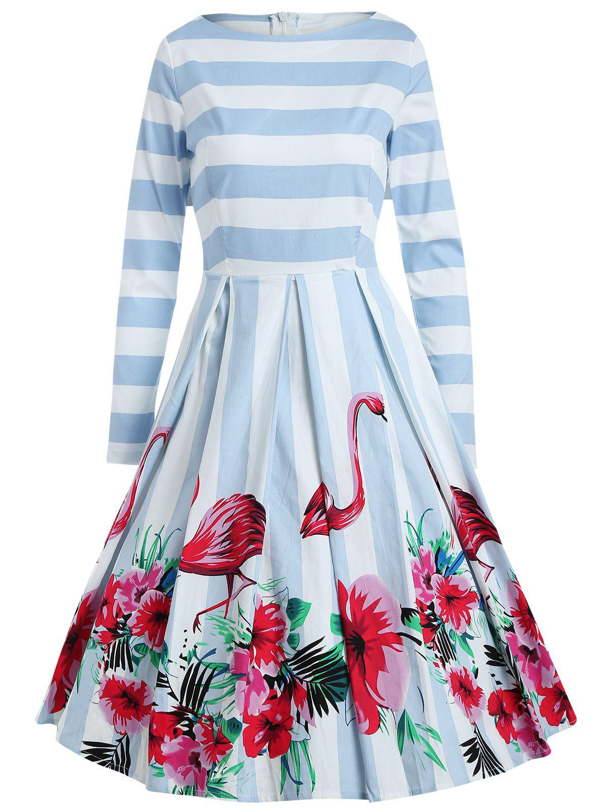 Unique Flamingo Stripe Print A Line Dress