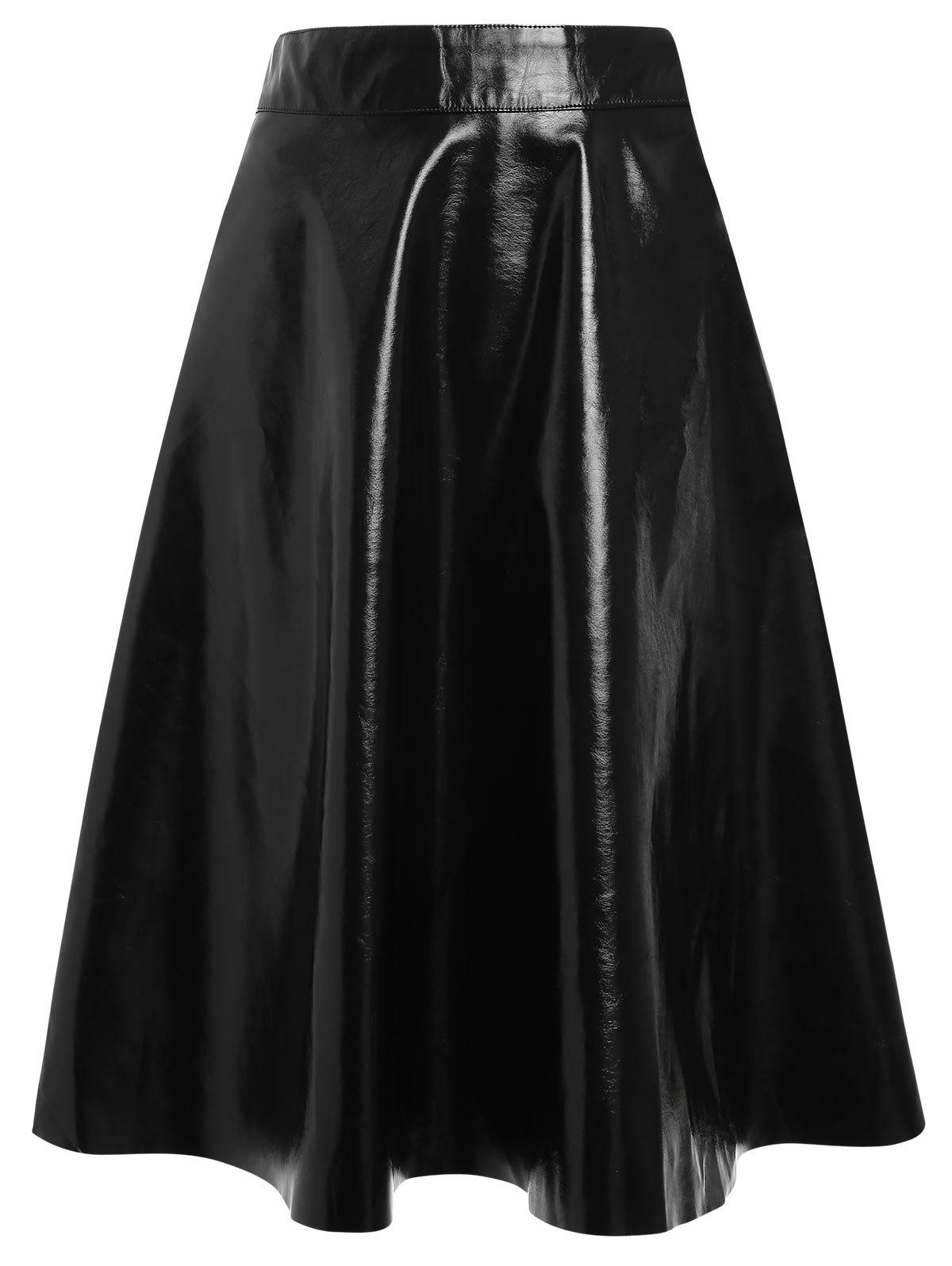 Chic Faux Leather Midi Flare Skirt