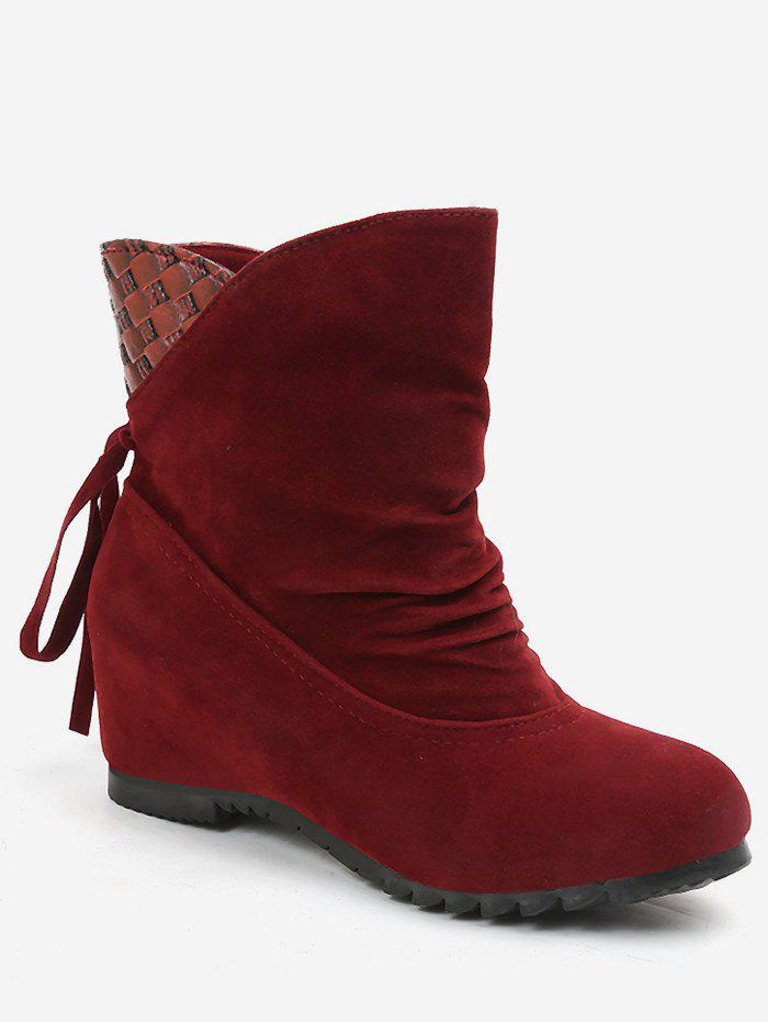 Sale Increased Internal Ruched Bowknot Ankle Boots