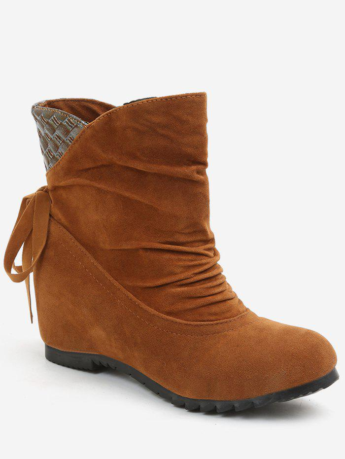 Online Increased Internal Ruched Bowknot Ankle Boots