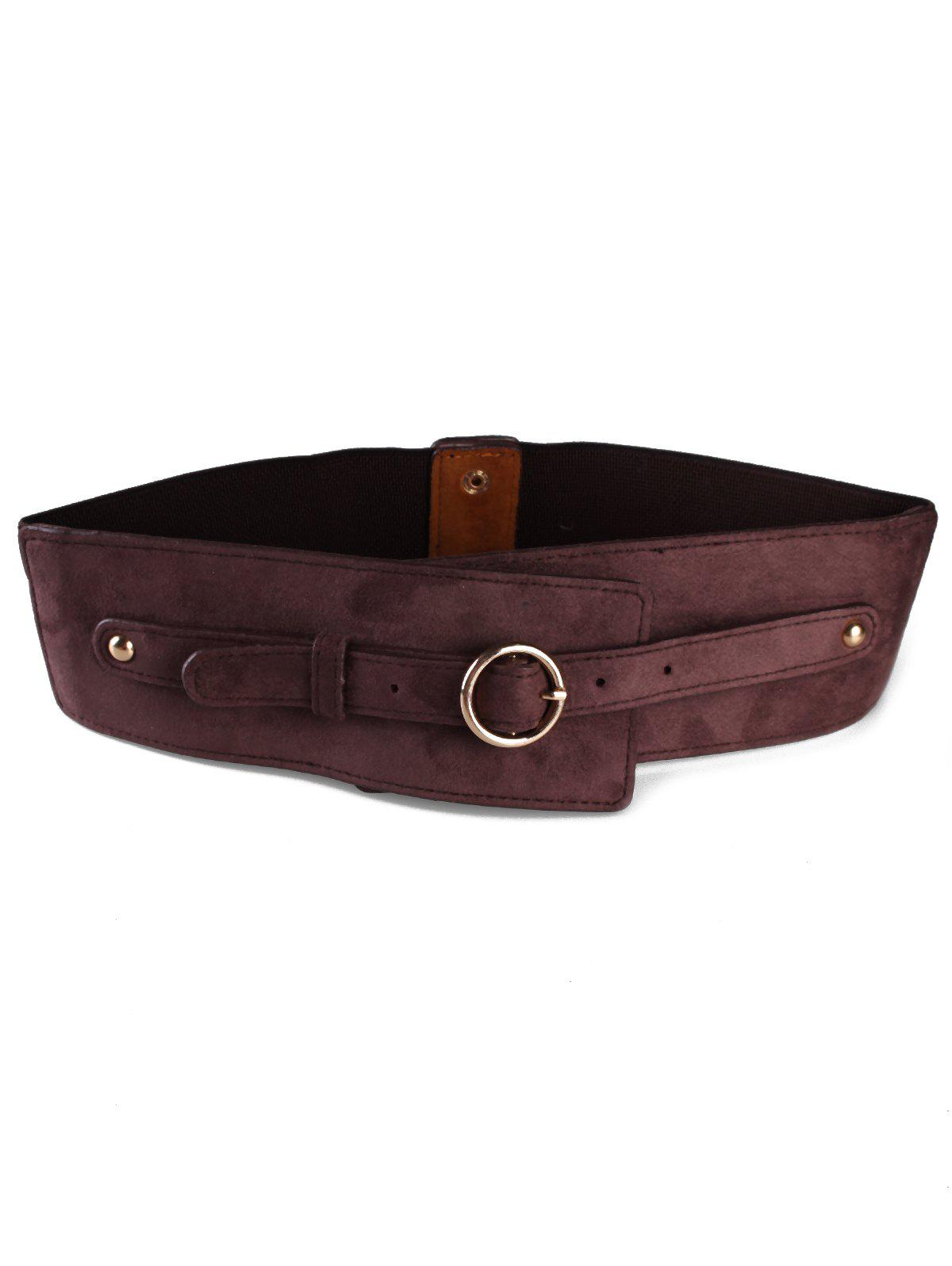 Affordable Round Metal Buckle Faux Leather Wide Waist Belt
