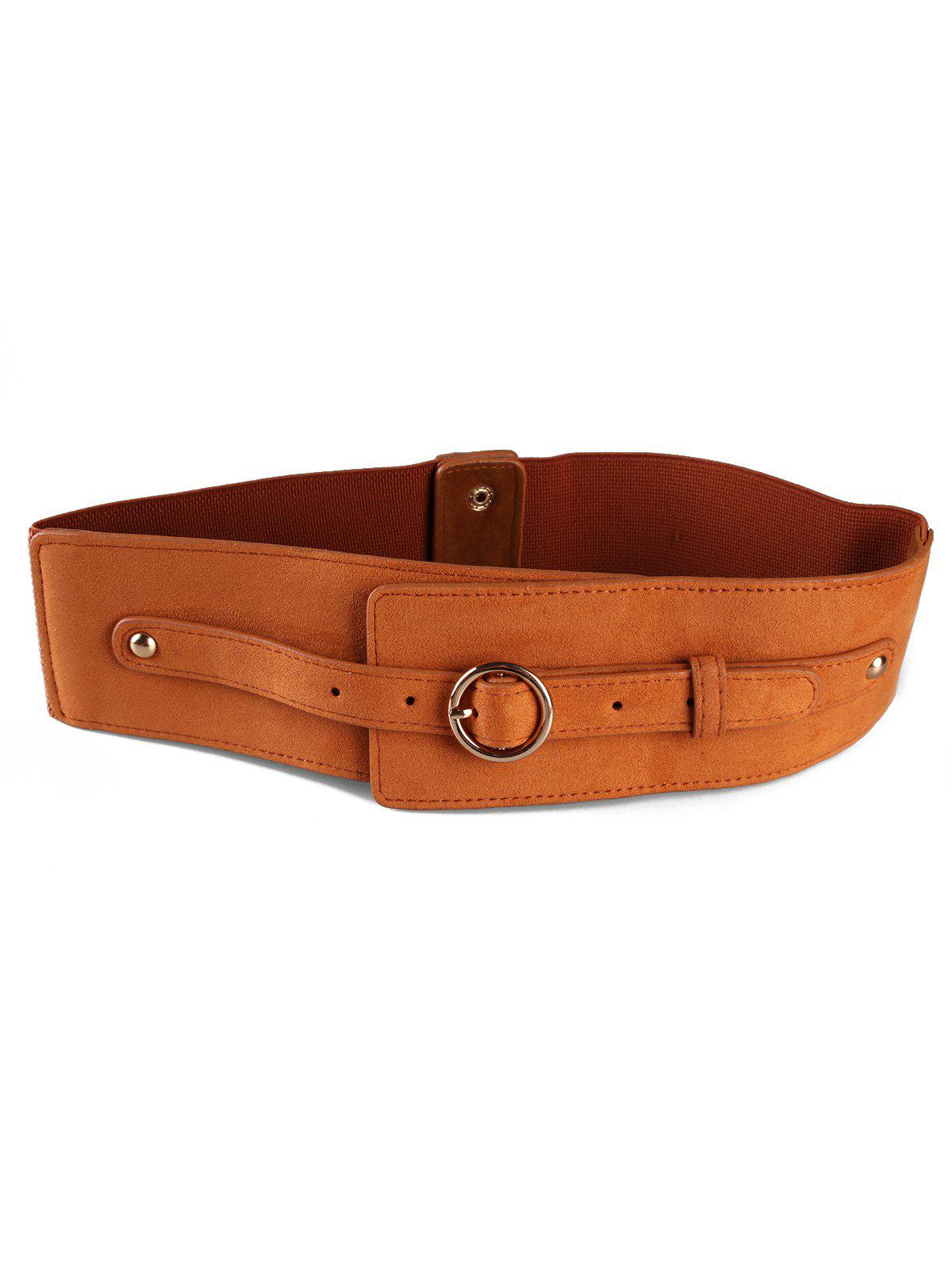 Hot Round Metal Buckle Faux Leather Wide Waist Belt