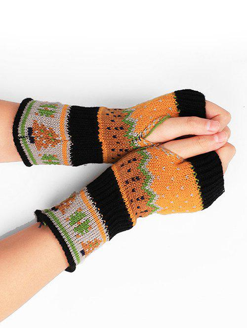 Chic Christmas Tree Fingerless Winter Gloves