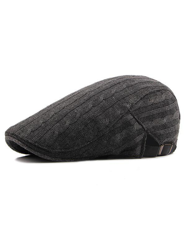 Trendy Solid Color Knitted Newsboy Cap