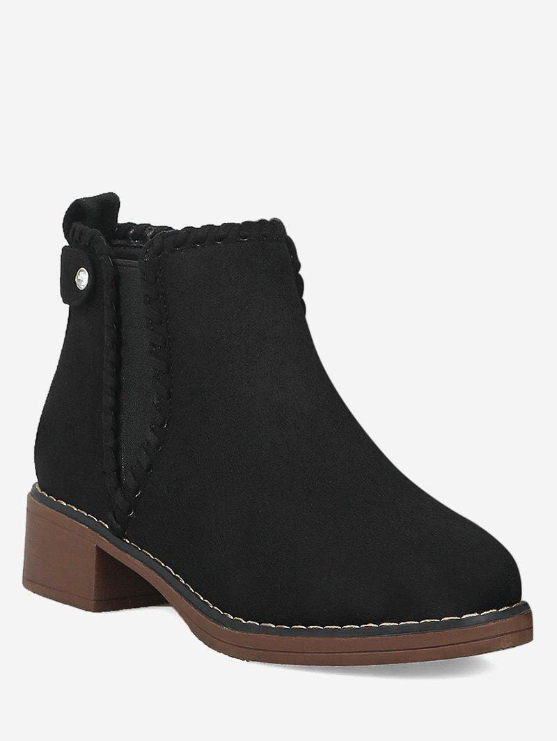 Unique Low Chunky Heel Suede Chelsea Boots