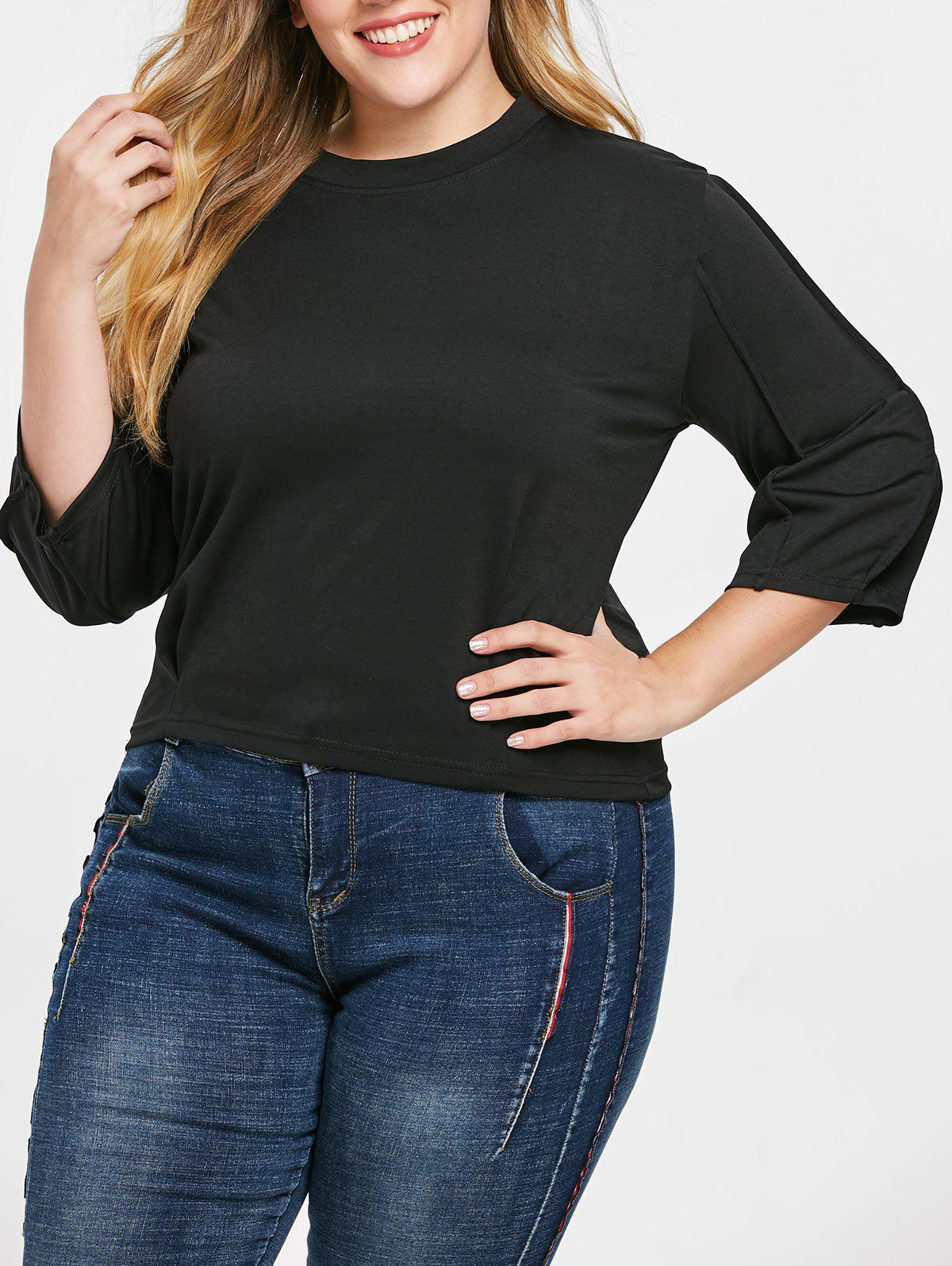 Outfit Plus Size Crew Neck Tee with Drop Shoulder