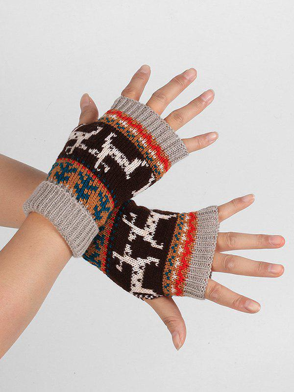 Hot Christmas Elk Fingerless Winter Gloves