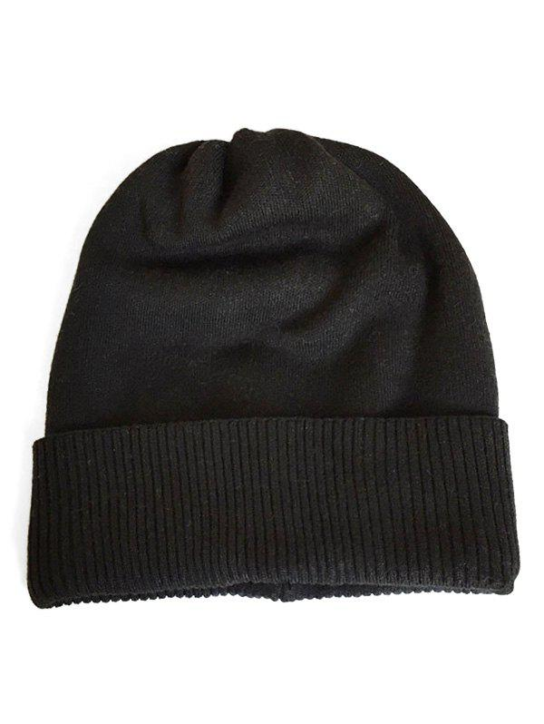 Sale Solid Color Flanging Knitted Baggy Beanie