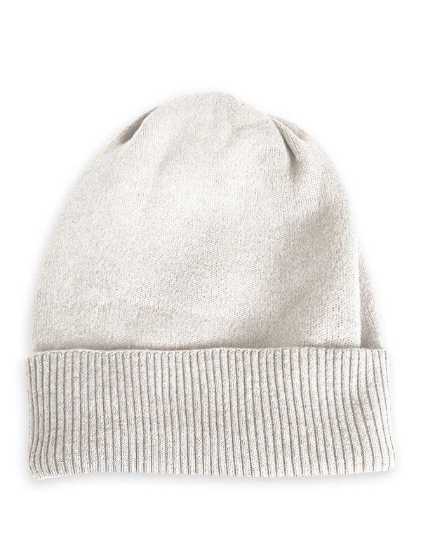 Hot Solid Color Flanging Knitted Baggy Beanie