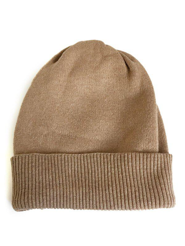 Fashion Solid Color Flanging Knitted Baggy Beanie