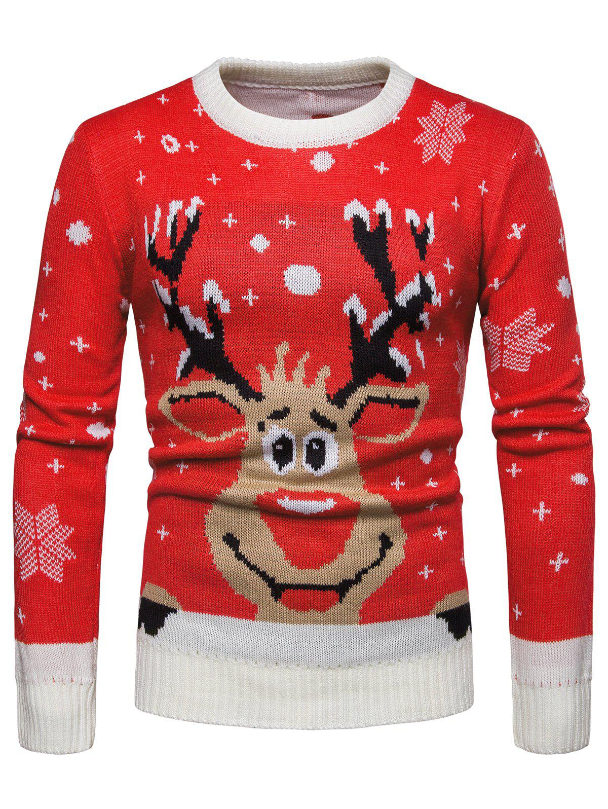 Unique Christmas Reindeer Print Pullover Sweater