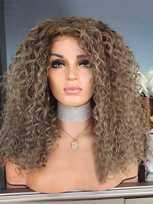 Discount Medium Inclined Bang Kinky Curly Party Synthetic Wig