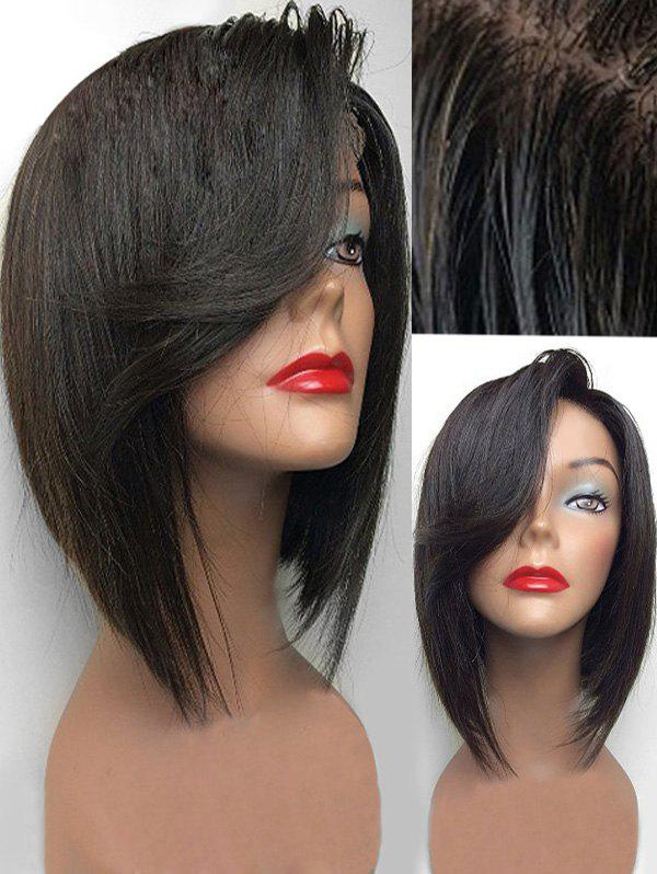 Unique Short Side Bang Straight Synthetic Lace Front Wig