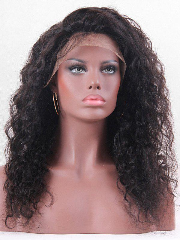 New Real Human Hair Long Fluffy Curly Lace Front Wig