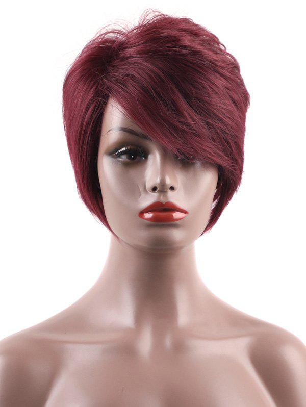 Fancy Inclined Bang Short Layered Straight Capless Human Hair Wig