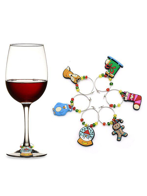 Cheap Christmas Snowman Stocking Wine Charm Ring Set
