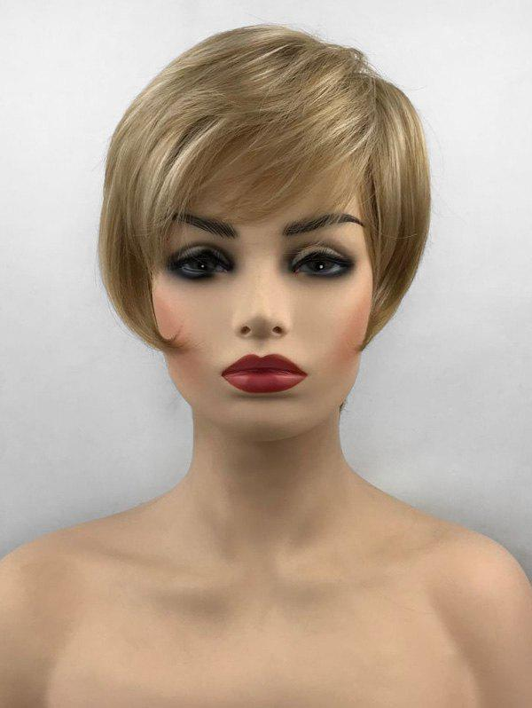 Trendy Side Bang Straight Short Capless Synthetic Wig