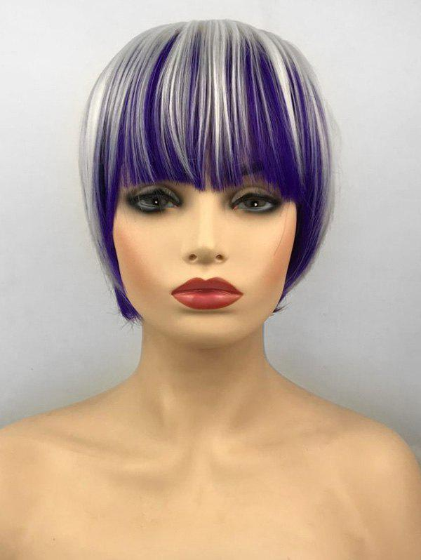 Store Short Full Bang Colormix Straight Bob Cosplay Party Synthetic Wig
