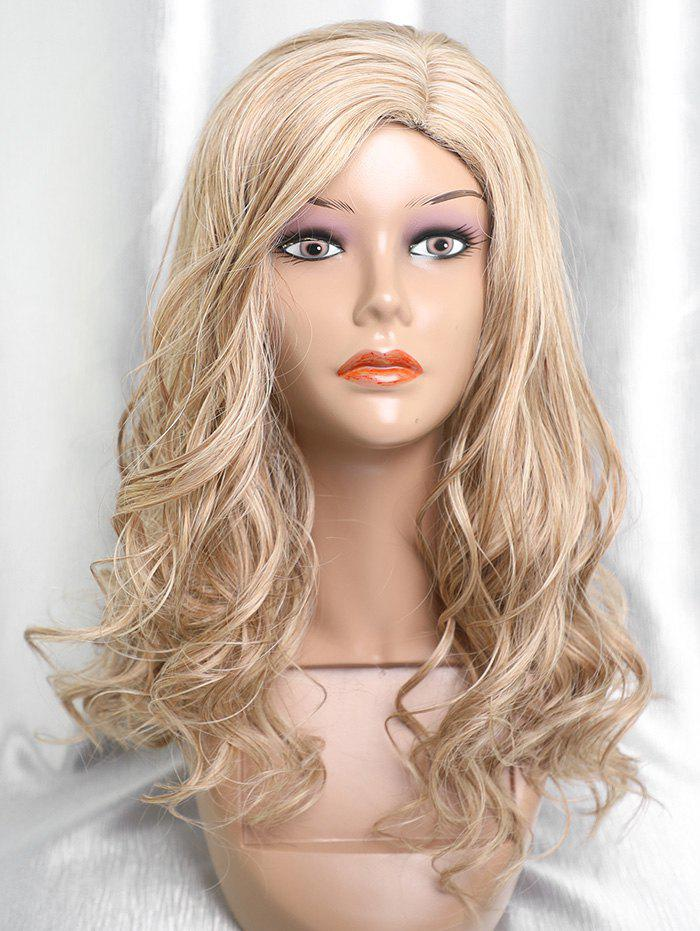 Unique Long Side Parting Capless Colormix Wavy Synthetic Wig