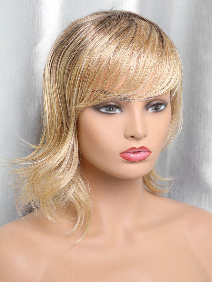 Discount Medium Side Bang Colormix Straight Tail Upwards Synthetic Wig