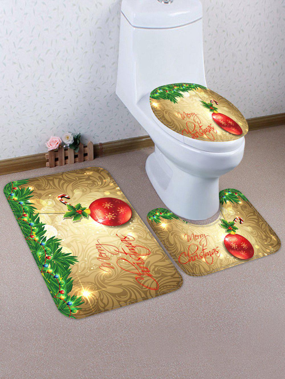 Trendy Christmas Ball Pattern 3 Pcs Toilet Mat Set