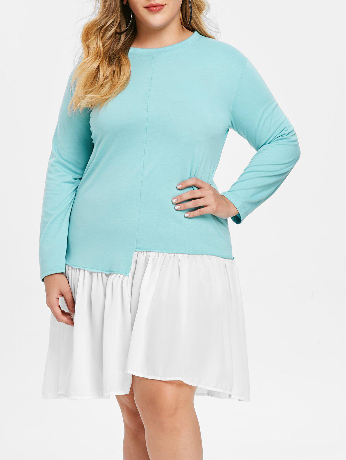 Unique Round Neck Plus Size Color Block Dress