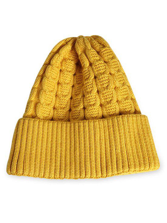 Store Winter Solid Color Flanging Thick Beanie