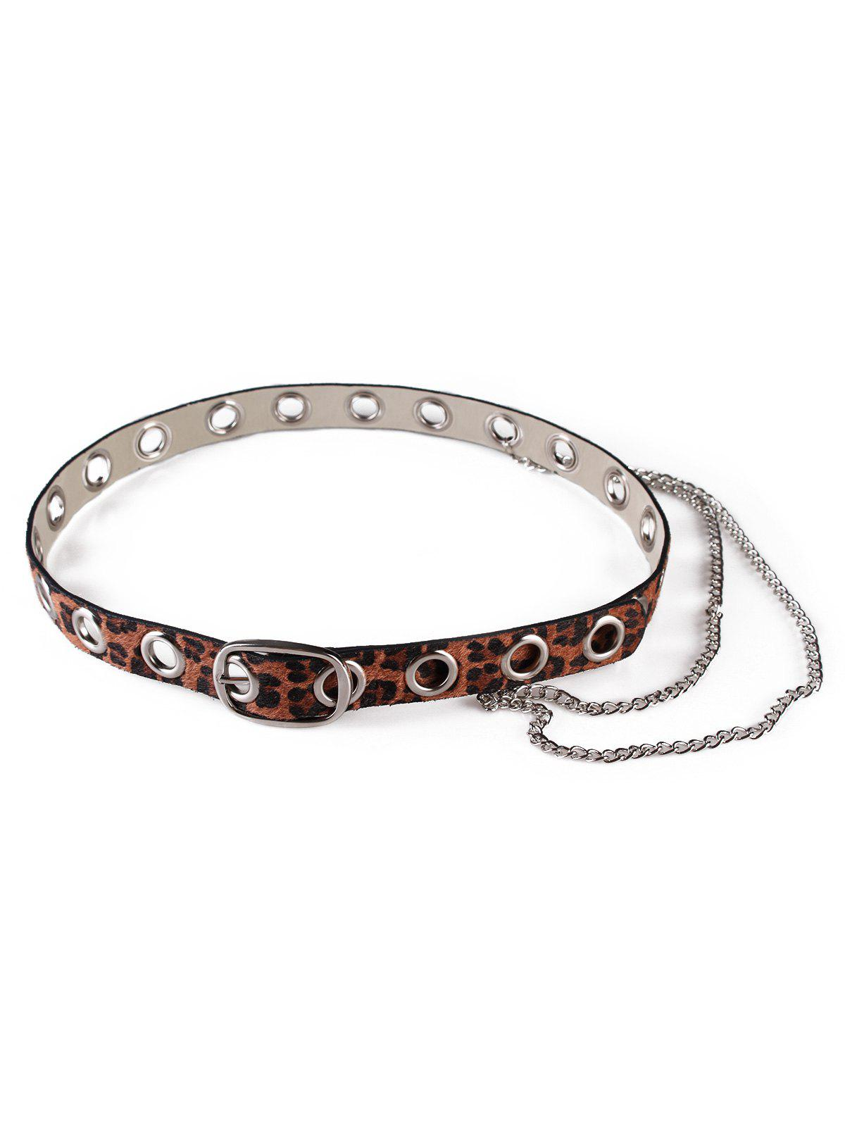 Fancy Punk Leopard Print Rivets Chain Belt