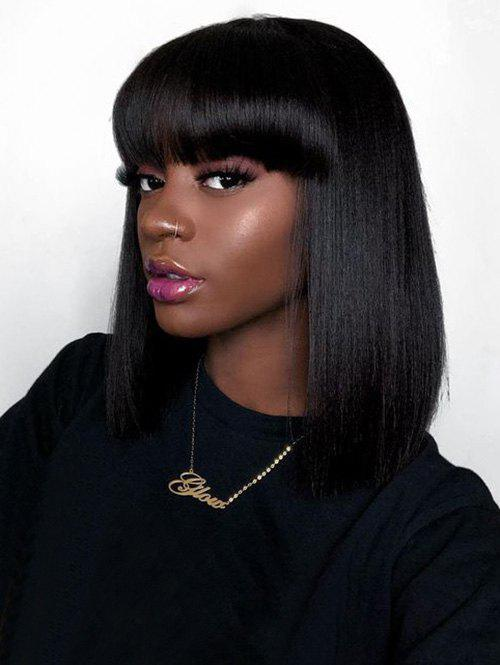 Fancy Medium Full Bang Straight Bob Capless Human Hair Wig