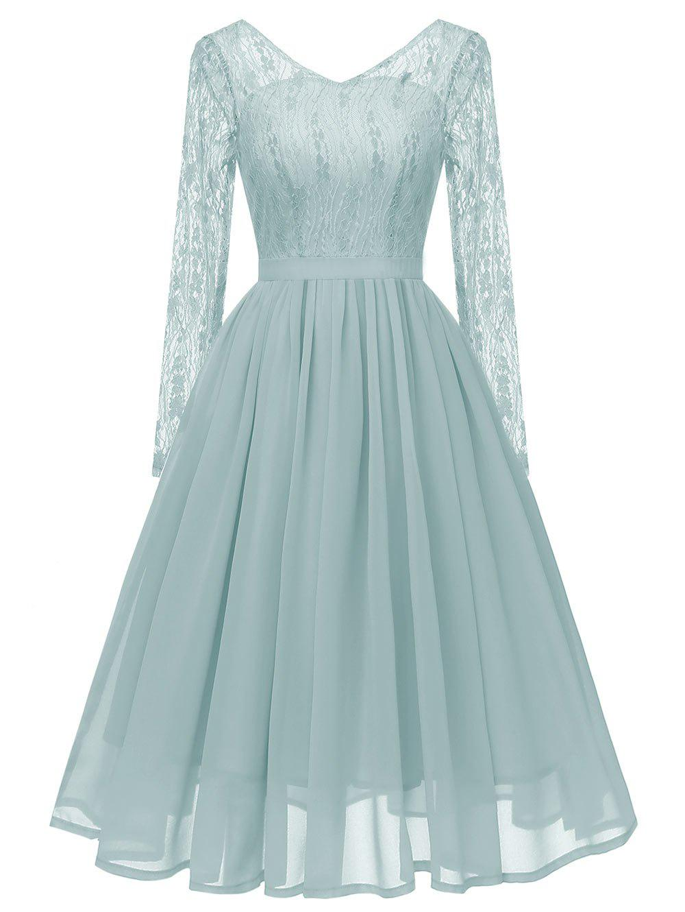 Fancy V Neck Long Sleeves Lace Panel Dress