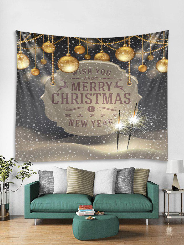 Chic Merry Christmas Ball Print Tapestry Art Decoration