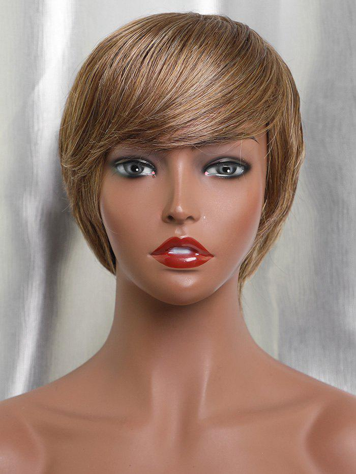 Trendy Inclined Fringe Short Capless Straight Human Hair Wig