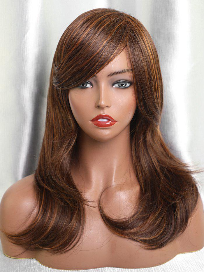 Fancy Inclined Bang Long Colormix Layer Straight Human Hair Wig