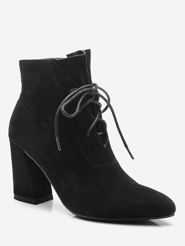 Store Pointed Toe Lacing Chunky Heel Boots