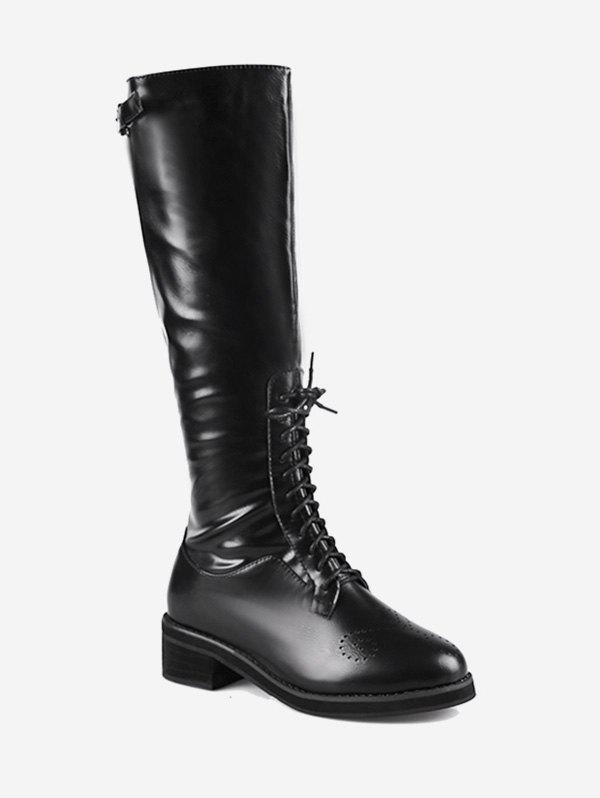 Unique Buckle Lace Up Knee High Boots