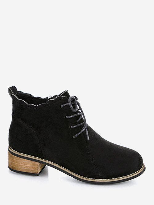 Outfit Flounced Hem Lacing Ankle Boots