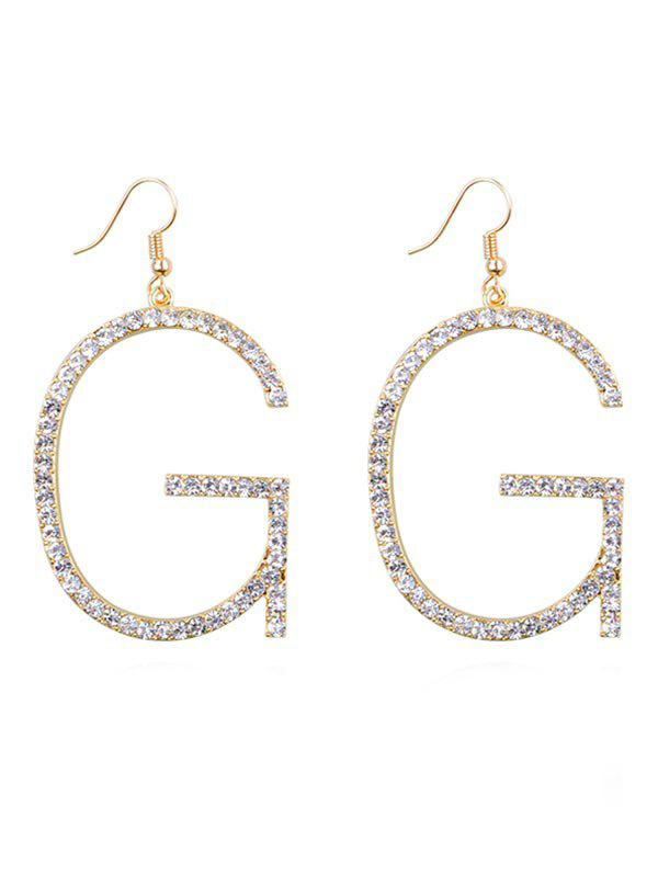 Outfit Rhinestone Inlaid Letter G Hook Earrings