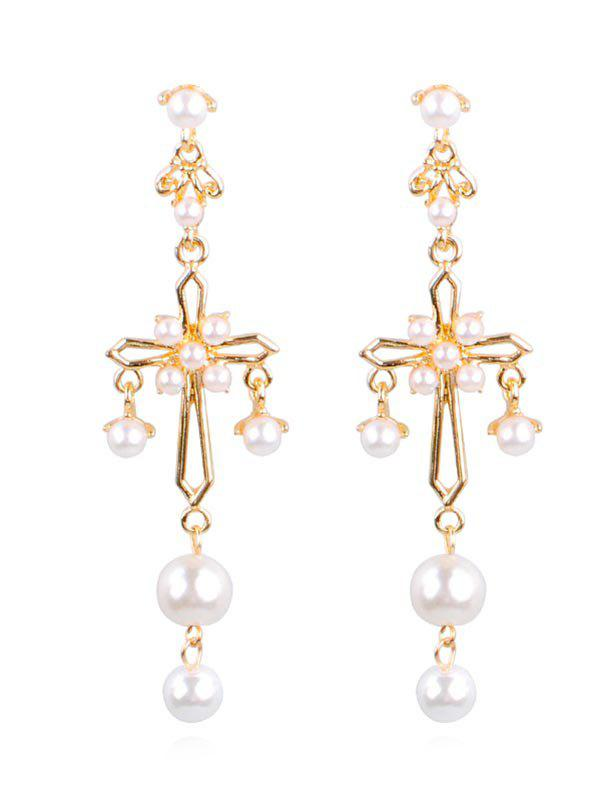 New Alloy Cross Faux Pearl Drop Earrings