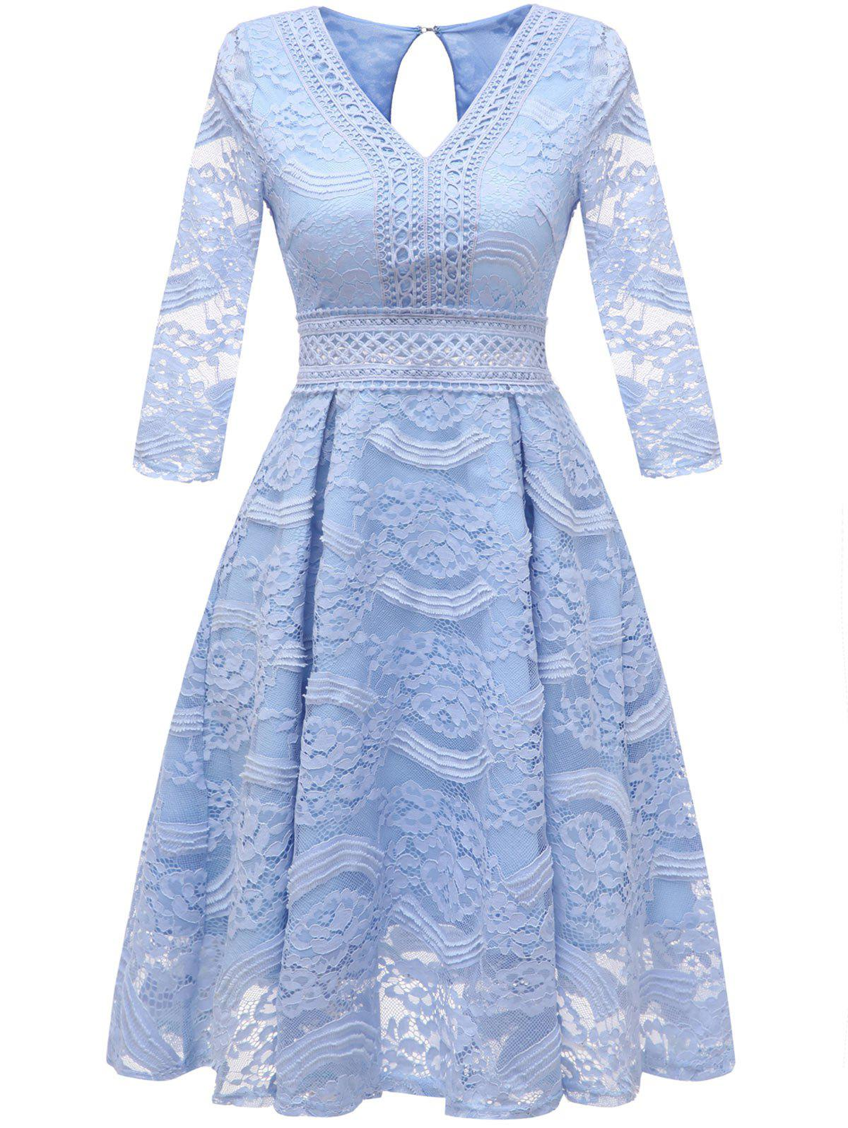 Best V Neck Lace Overlay Dress