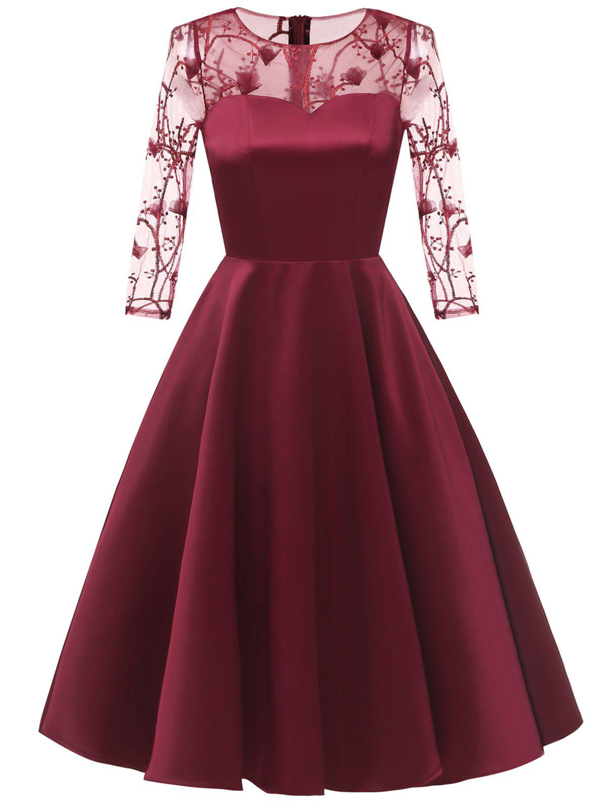 5bac5cbcf6 2018 Sheer Embroidered Mesh Panel Cocktail Dress In Red Wine M ...