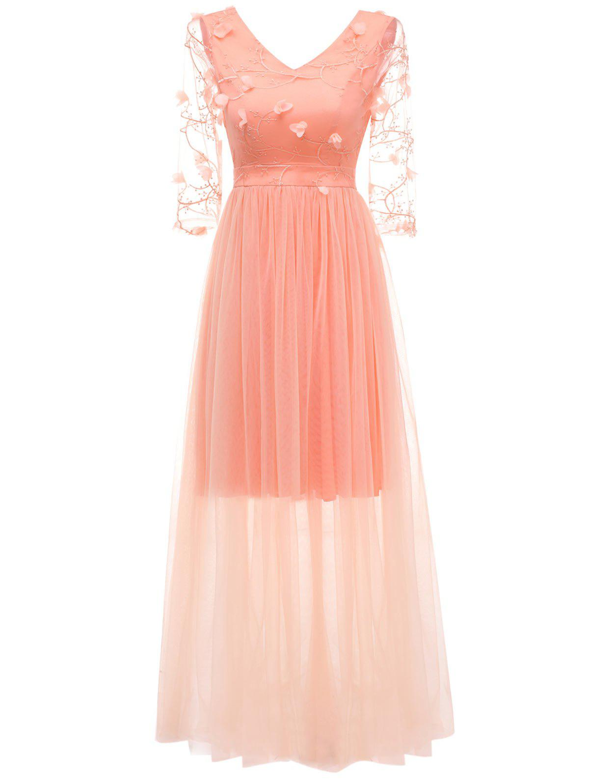 Fancy V Neck Embroidered Maxi Tulle Dress
