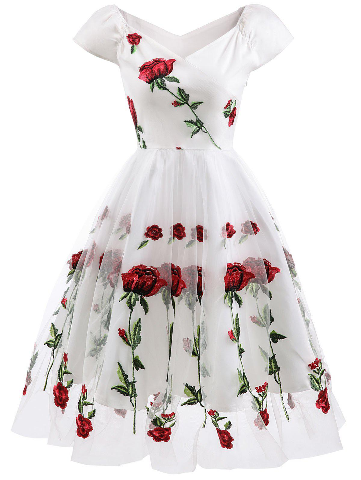 Unique Floral Embroidered Fit and Flare Prom Dress