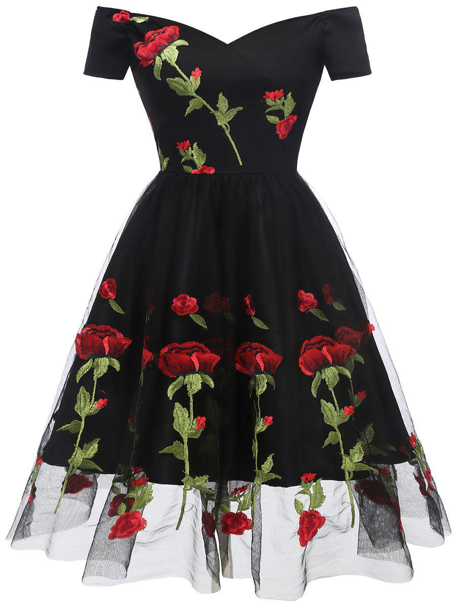 Online Floral Embroidered Fit and Flare Prom Dress