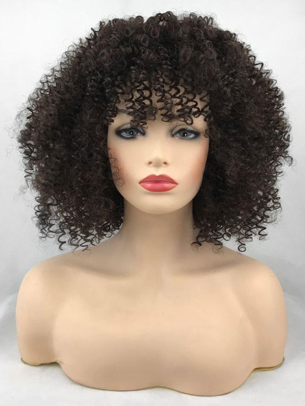 Hot Short See-through Bang Afro Curly Synthetic Wig