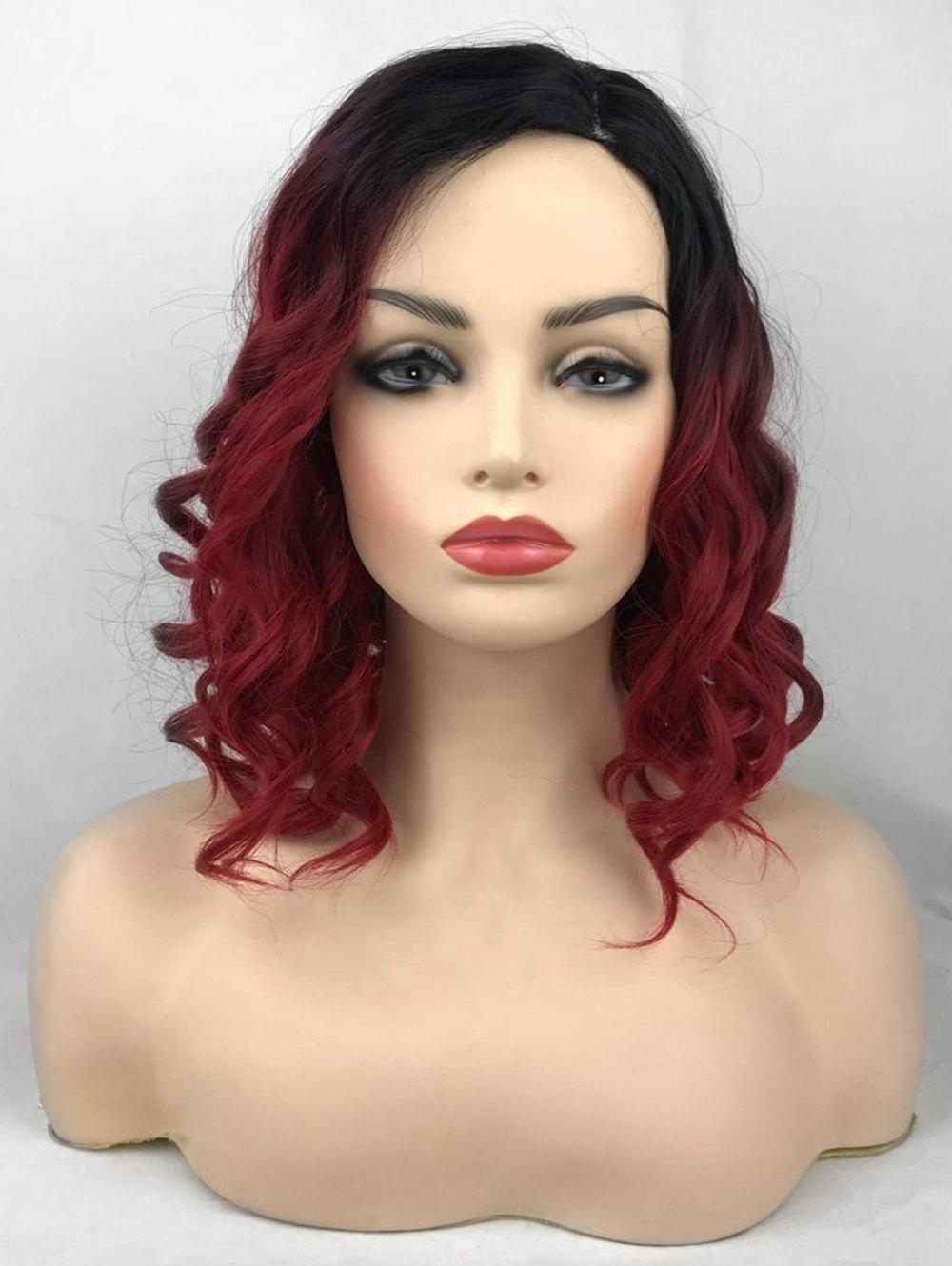 Sale Short Side Parting Ombre Wavy Party Synthetic Wig