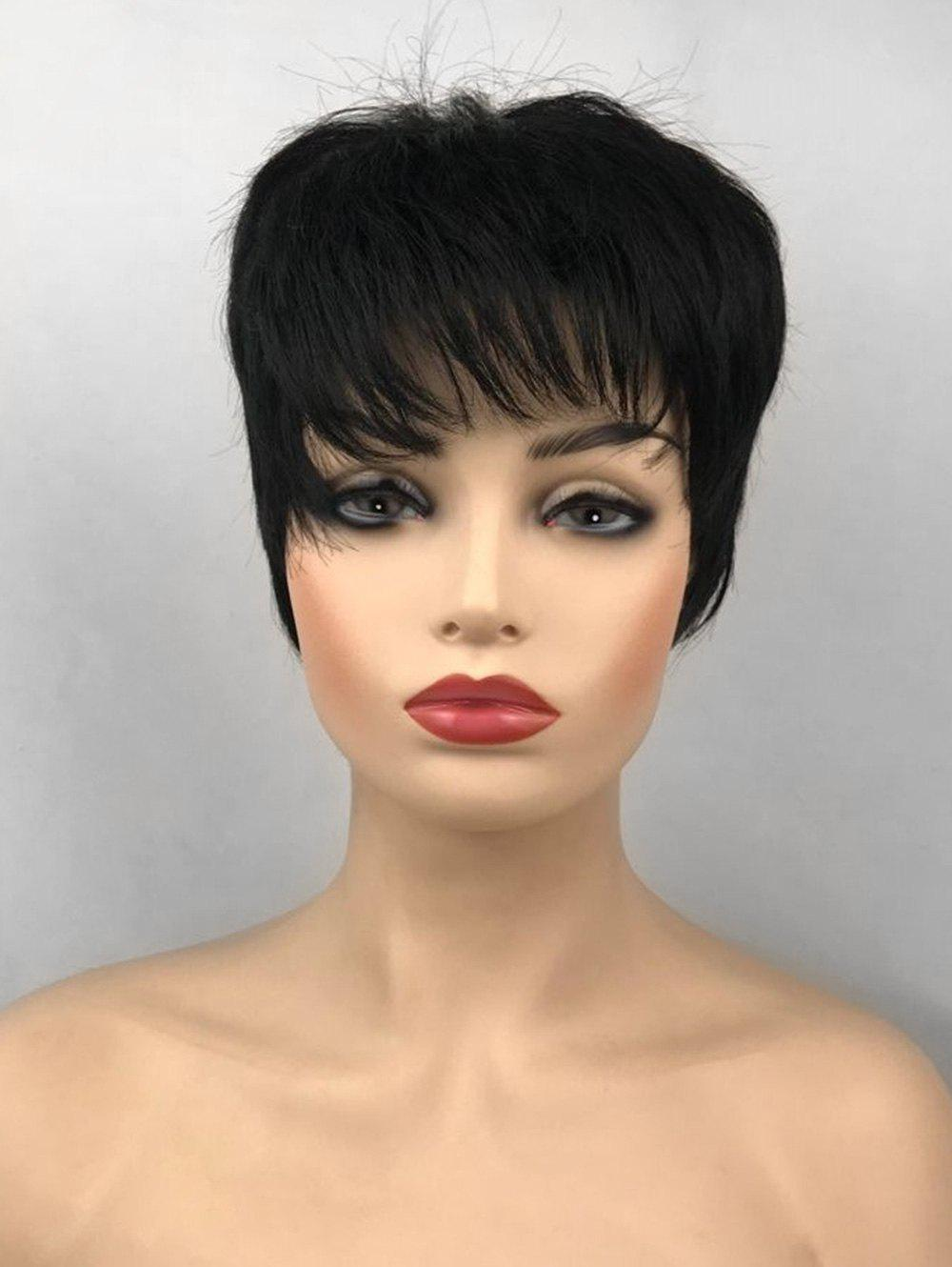 Best Inclined Bang Short Capless Straight Synthetic Fiber Wig